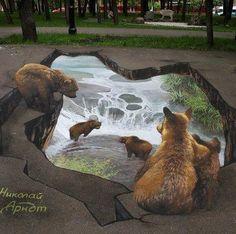 chalk art - realistic bears