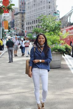 how to wear a neck scarf, white jeans, equipment blouse, christine petric, the view from 5 ft. 2