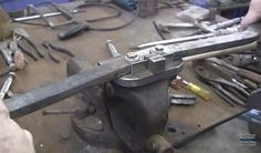 Metal Bender by Bruce Cheaney -- Homemade metal bender constructed from bar stock, steel plate, and bolts. http://www.homemadetools.net/homemade-metal-bender-9