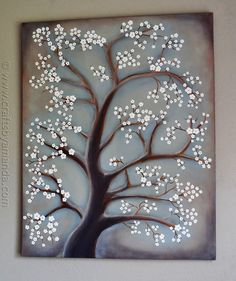 Pintura blanca del flor del cerezo - CraftsbyAmanda.com