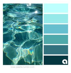 I live in Surf City, USA and I love the ocean. So naturally I like blues. I especially love teal and live this color scheme … Colour Schemes, Color Combos, Pantone, Aqua Color Palette, Aquamarine Colour, Design Palette, Beach Color, Design Seeds, Colour Board