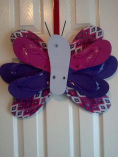 Handmade Butterfly Flip Flop Wreath Door Wall Decor Girls Pink Purple White ONE of a KIND