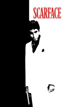 Scarface is a 1983 American cult hit crime film directed by Brian De Palma, written by Oliver Stone, produced by Martin Bregman and starring Al Pacino as Tony Montana. Best Movie Posters, Classic Movie Posters, Cinema Posters, Movie Poster Art, Poster S, Classic Films, Film Gif, Film Serie, Old Movies