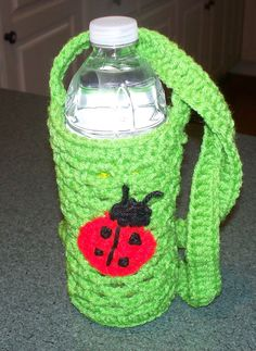 Crocheted Ladybug water bottle & Red solo cup holder by MEMAJOJOS, $5.00