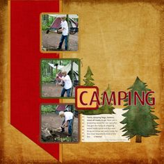 Camping digital scrapbook layout by Janine Buckles at Happy to Create. #digiscrap #happytocreate #digitalscrapbooking