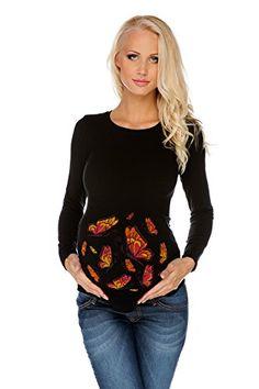 710c8682317b Maglietta premaman Farfalle nera L (large) Abbigliamento Premaman MY TUMMY  ®©TM Maglie di Maternità T shirt Gravidanza  Amazon.it  Prima infanzia