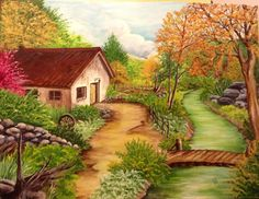 Paisaje campestre Facebook Cover Images, House Landscape, Country Art, Pretty Art, House Painting, Painting Inspiration, Landscape Paintings, Beautiful Pictures, Scenery