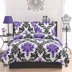 """Delany Damask Comforter Set Elegant and a throwback look with the black and white lattice work print with bright purple foulards and a deep purple reverse make this a great coordinate to your room. Microfiber face and back make this pattern a perfect pattern for your dorm with easy care and cleaning.   Cotton Type: Long staple Weave: Plain   Twin Set Includes:  (1) Comforter (66"""" x 86"""") (1) Standard sham (20"""" x 26"""")   Full Set Includes:  (1) Comforter (76"""" x 86"""") (2) Standard shams (20"""" x…"""