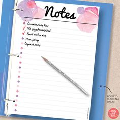 Taking notes never looked so good! This pretty pink watercolor notes insert comes in A5/A4/Letter/Half sizes. Download the PDF planner printable and print as many as you need. Check out the rest of our range at http://www.etsy.com/shop/stickwithsam   Printable Planner   Printables