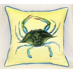 Found it at Wayfair - Betsy Drake Interiors Coastal Female Crab Indoor / Outdoor Square Pillow