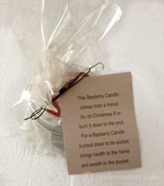 """Bayberry candles are considered """"Good Luck."""" Learn how to make them and see the cute saying that goes with the gift."""