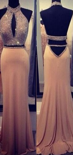Two Pieces Shinning Special Design Beadings Prom Dress FROM http://tbgowns.com/prom-dresses