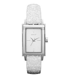 DKNY White Sequins Leather Watch #Dillards
