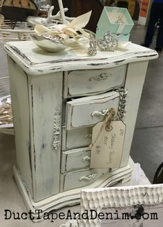 Americana Decor Chalky Finish Paint on Jewelry Cabinet Chalky