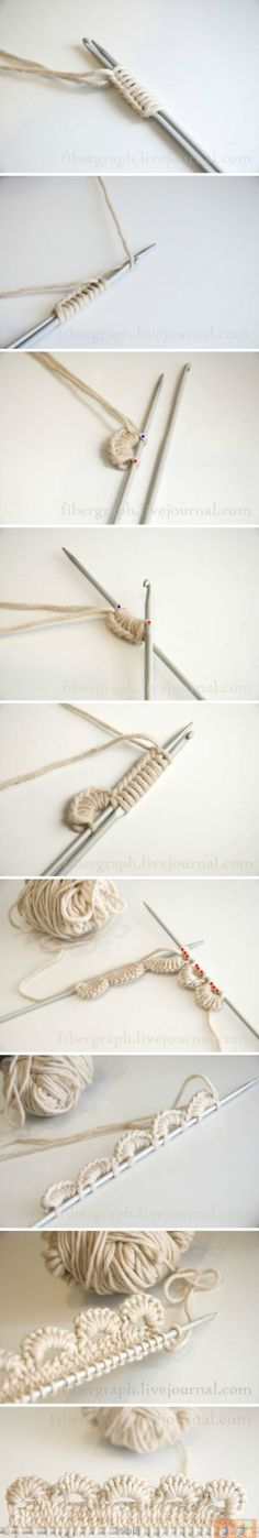 Knitting + Crochet = Such an interesting way to get a crocheted scallop edge onto a knitting project.