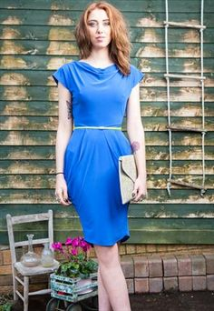 Royal+Blue+Drape+Dress