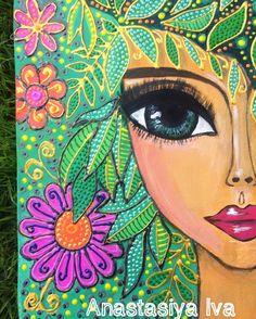 Block Painting, Mixed Media Painting, Mandala Art, Motifs Applique Laine, Outside Wall Art, Simple Acrylic Paintings, Naive Art, Angel Art, Art Journal Inspiration