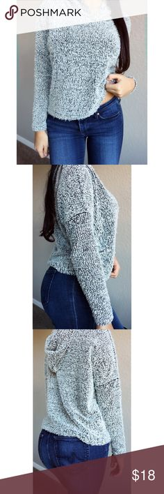 Ambiance Fuzzy Cropped Grey Sweater Condition: gently worn, like new Features: cropped, hoodie on back Ambiance Sweaters