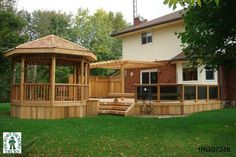 Large, 1-level deck with a spa, pergola, bench, planters, and a gazebo (#1RGS7248).