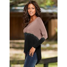 Venus Women's Backless Dip Dye Tops (2,180 INR) ❤ liked on Polyvore featuring tops, brown top, backless tops and dip dye top