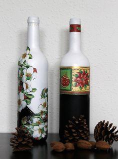ekeyart: Tutorial para reciclar y decorar botellas para la Navidad / How to recycle bottles into decorations for Christmas