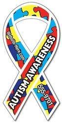 Autism Awareness Magnet - Ribbon Shape (3.8x8) - Outdoor Safe