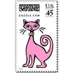 Retro Cat by artberry  Make a personalized stamp on zazzle