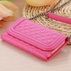 For iPhone 6 Leather Cases Fashion Women Long Metal Chain Wallet Handbag Case For iPhone 6 4.7 inch With Card Slot & Mirror Bag