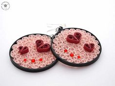 Dangle earrings  paper earrings  round by QuillingWonderland, $25.00