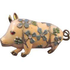 Enameled Flowered Pig Figural Brooch from retrojewels on Ruby Lane