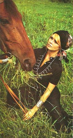 Brigitte bardot horse whisperer mastery.  As well as  beautiful headscarf mastery and white sitch on black mastery and silver bracelet mastery