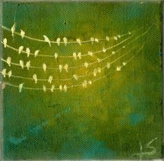 Birds on a Wire Original Painting on Canvas  by paperfinchart, $40.00