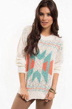 Aztec Print Pullover Sweater $43