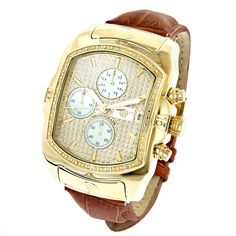 Luxurman Mens Diamond Watches: Yellow Gold Plated Bubble Watch Leather Band