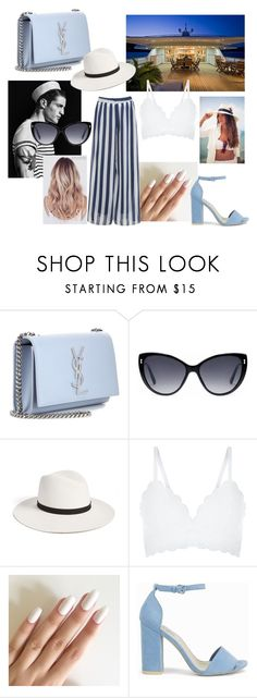"""""""yacht party"""" by sara-tortello on Polyvore featuring moda, Yves Saint Laurent, Gucci, Janessa Leone, New Look e Nly Shoes"""