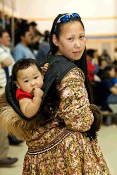 Native Alaskan mother and baby