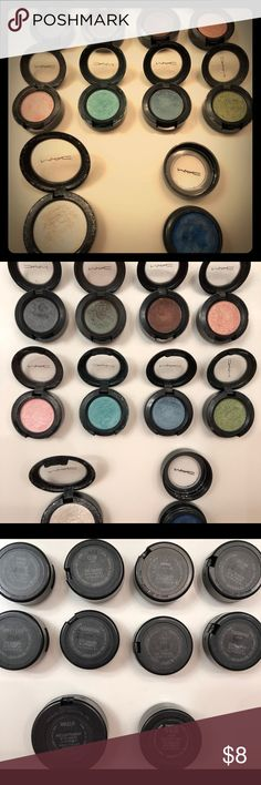 MAC eyeshadows Eyeshadows are either never used (only swatched) or only used a few times. They sell new for $16 ea. I'm asking $8ea or $50 for the 8.  The pressed eyeshadow has also only been used a handful of times.The blue pressed eyeshadow is more like a cream that dries into powder. It's very pigmented. It is used but I no longer use it. The 2 are $10 ea or $65 for everything. Makeup Eyeshadow