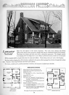 The Lancaster Bungalow - 1922 Craftman-style by Bennett Homes - Ray H. Craftsman Style Bungalow, Craftsman Bungalows, Craftsman Exterior, Craftsman House Plans, Stone Porches, Vintage House Plans, Best Build, Second Empire, Kit Homes