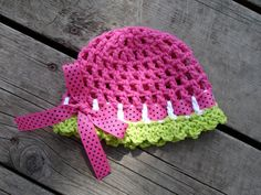 ochet Pattern for Spring Bloom Beanie Flower Hat - 5 sizes, baby to adult - Welcome to sell finished items