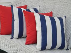 Set of 4 - 17 x 17 Indoor / Outdoor Navy  White Stripe  Sold Red Pillows by PillowsCushionsOhMy on Etsy, $79.96