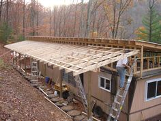 Roof line......papercrete tire bricks used in green, environmentally friendly mobile home remodel