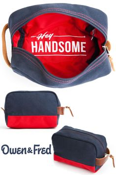 The Hey Handsome shaving kit bag from Owen & Fred makes for the perfect gift for men. A discreet little message at the bottom serves as a reminder from you to him.