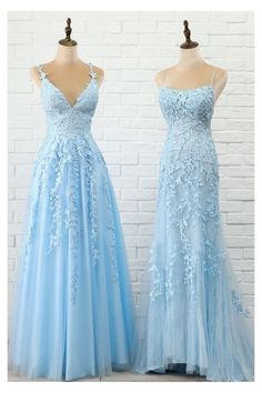 Blue Lace Prom Dress, Royal Blue Prom Dresses, Pretty Prom Dresses, Prom Dresses For Teens, Prom Dresses Long With Sleeves, Prom Outfits, Blue Formal Dresses, Light Blue Lace Dress, Light Blue Dresses