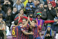 Pedro celebra con el resto del equipo su gol ante el Elche