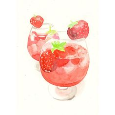 Acuarela original  Cocktail de fresa por MilkFoam en Etsy, $30.00