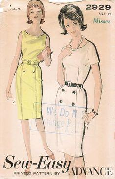 Advance 2929 Vintage Sewing Pattern Misses Slim Dress, Sheath Size 12 Bust 32 Vintage Dresses 1960s, Vintage Dress Patterns, 1960s Fashion, Vintage Fashion, Vogue Sewing Patterns, 60s Patterns, Pattern Sewing, Robes Vintage, American Dress