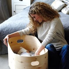 """Wooden baby bed """"Benni's nest"""" - good night to all of you! Charlie Crane, Moses Basket, Plastic Laundry Basket, Kidsroom, Kids And Parenting, Bean Bag Chair, Wicker, Bed, Furniture"""