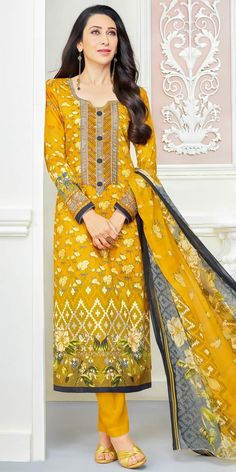 05eb491d37b Karishma Kapoor Yellow Cotton Straight Suit.