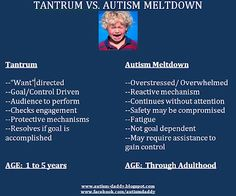 """tantrum vs. autism meltdown. I have serious problems in the tantrum department, too, especially with people who say """"don't give them attention - they only do it for attention."""" Shut your stupid faces. Of that's really the reason for a tantrum, then you apparently aren't giving sufficient attention otherwise."""