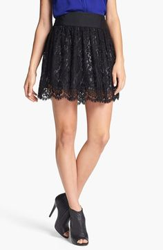 Milly 'Margaret' Scalloped Lace Miniskirt available at #Nordstrom